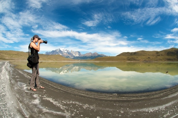 sherry Ott photographing Patagonia
