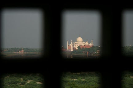 taj mahal through window