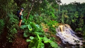 Kauai Hawaii Adventurs me hiking into the waterfall