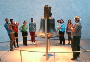 A National Park Service ranger reveals the story behind the famously cracked Liberty Bell. Part of Independence National Historical Park, the Liberty Bell Center exercises freedom from admission fees. Photo by D. Cruz for VISIT PHILADELPHIA™