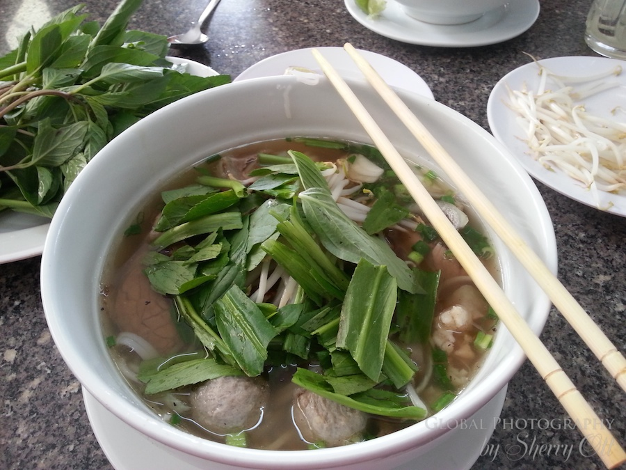Pho in Vietnam with the local greens (1)