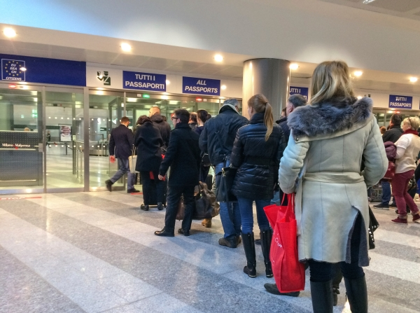 Passport control in Malpensa Airport, Milan, Italy
