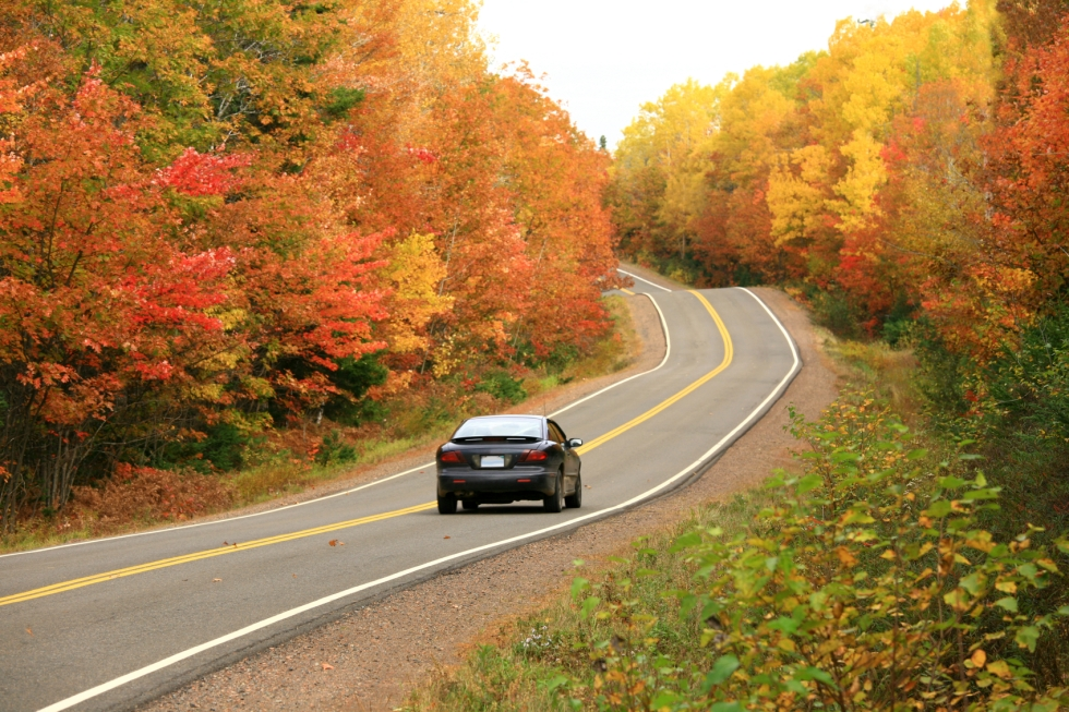 A car along a scenic highway in autumn with beautiful fall colours. Appalachian highway with domestic automobile in rolling hills. Additional themes include road trip, driving, transportation, scenic biways, travel, road, highways, driving, autumn, cars.