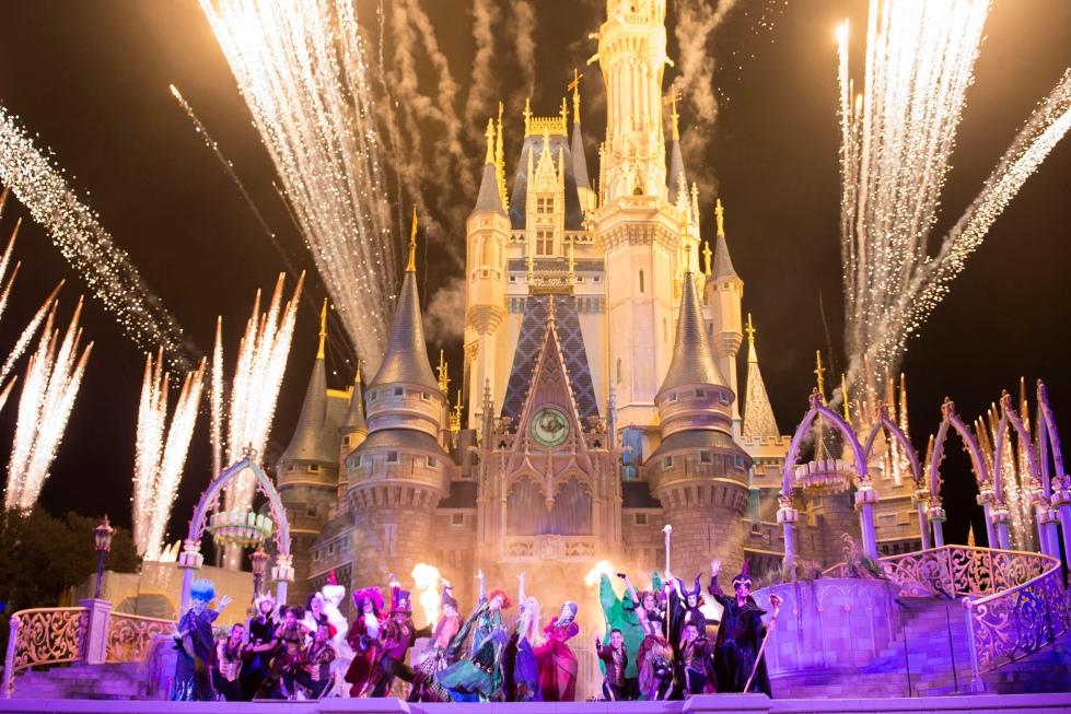 """New in 2015, the """"Hocus Pocus Villain Spelltacular,"""" show during Mickey's Not-So-Scary Halloween Party at Magic Kingdom Park includes the mischievous Sanderson Sisters from Disney's Hocus Pocus, who throw an evil Halloween party that features appearances by Dr. Facilier, Oogie Boogie, Maleficent and other great Disney villains, along with dancers, projections and special effects. Walt Disney World Resort is located in Lake Buena Vista, Fla. (Mariah Wild, photographer)"""