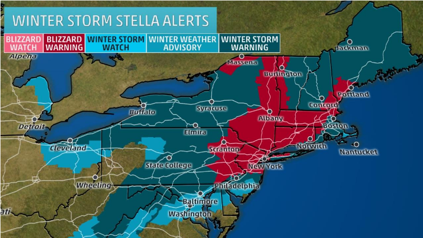 Map of Winter Storm Stella Alerts